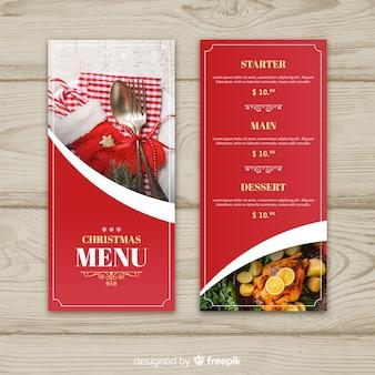 Modello di menu di Natale testo dorato fotografico