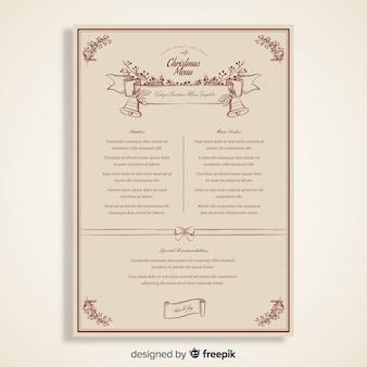 Modello di menu di natale vintage