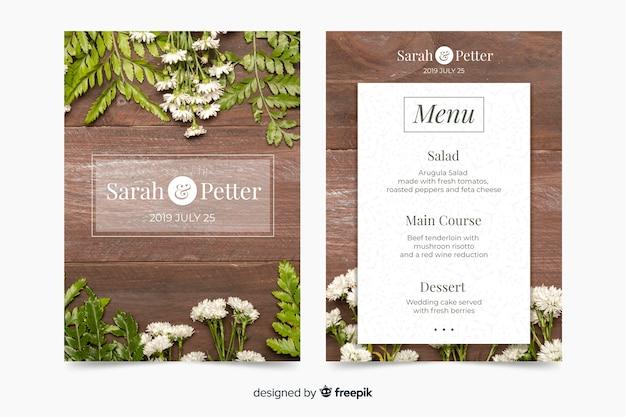 Modello di menu di nozze con foto