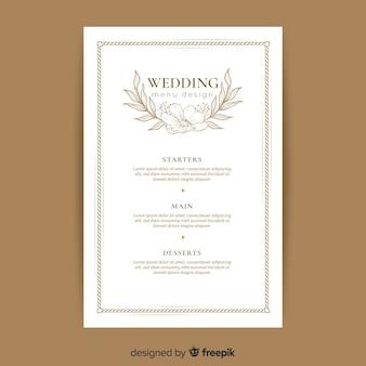 Modello di menu di nozze disegnato a mano
