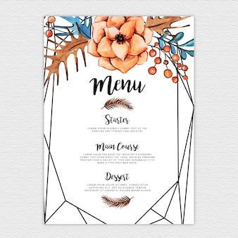 Modello di menu di nozze floreale dell'acquerello