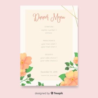 Modello di menu di nozze natura dell'acquerello