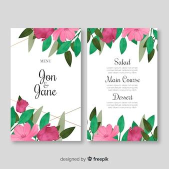 Modello di menu di nozze stile acquerello