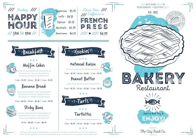 Modello di menu di panetteria ristorante caffetteria