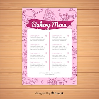 Modello di menu di panetteria rosa