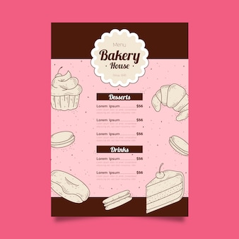 Modello di menu di panetteria