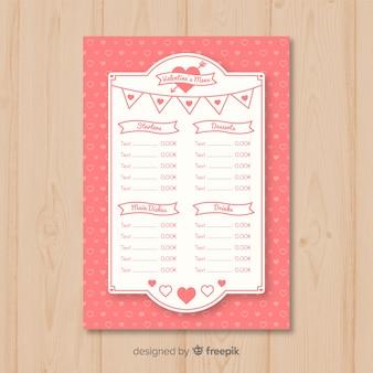Modello di menu di pennant valentine