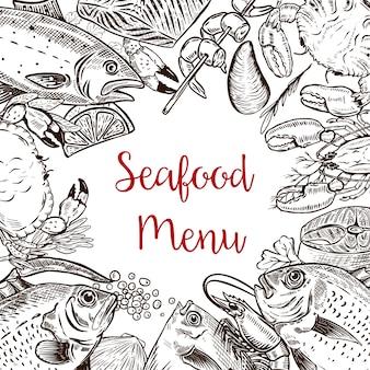 Modello di menu di pesce fresco. pesce, granchio, gamberi, aragosta, spezie. illustrazione