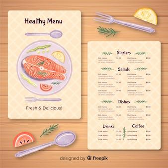 Modello di menu di pesce piatto biologico
