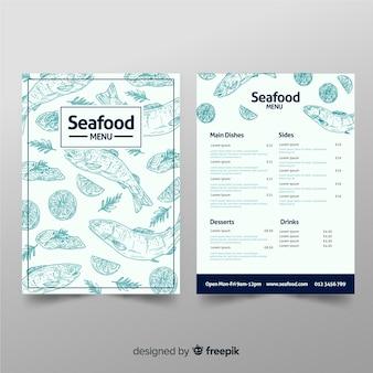 Modello di menu di pesce ristorante disegnato a mano