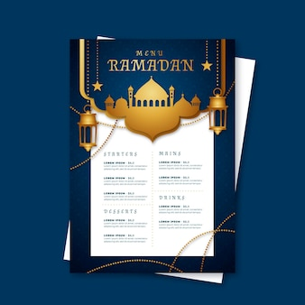 Modello di menu di ramadan con lanterne e moschea