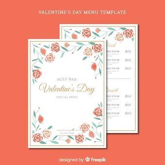 Modello di menu di san valentino cornice floreale