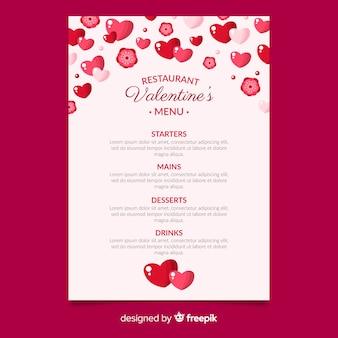 Modello di menu di san valentino cuori lucidi