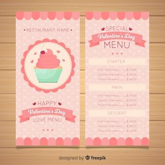 Modello di menu di san valentino cupcake color pastello