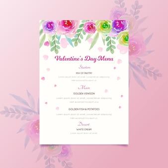 Modello di menu di san valentino dell'acquerello con fiori