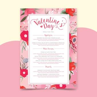 Modello di menu di san valentino dell'acquerello