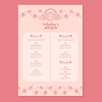 Modello di menu di san valentino disegnati a mano