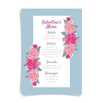 Modello di menu di san valentino disegnato a mano con fiori