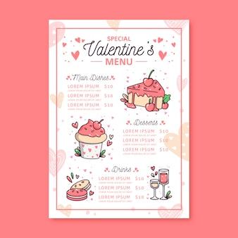 Modello di menu di san valentino disegnato a mano