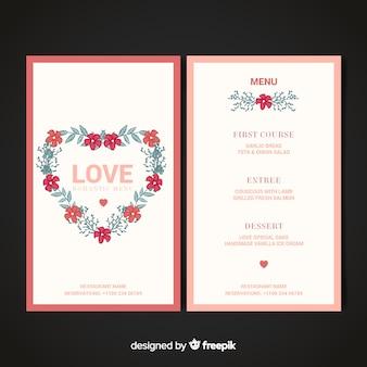 Modello di menu di san valentino ghirlanda floreale