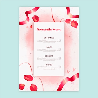 Modello di menu di san valentino in acquerello
