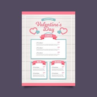 Modello di menu di san valentino in design piatto