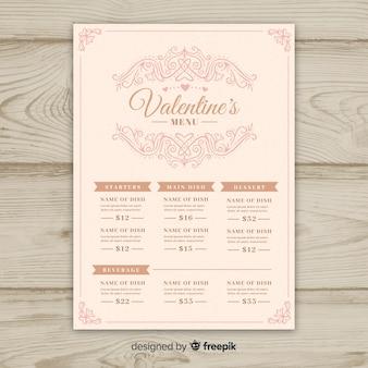 Modello di menu di san valentino ornamentale