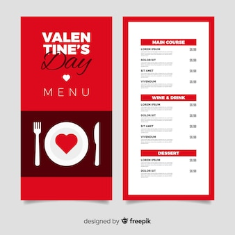 Modello di menu di san valentino per la tavola