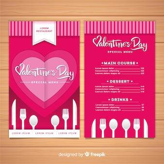 Modello di menu di san valentino piatto posate