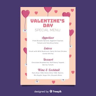 Modello di menu di San Valentino piatto