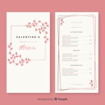 Modello di menu di san valentino rami semplici