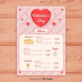 Modello di menu di san valentino taco