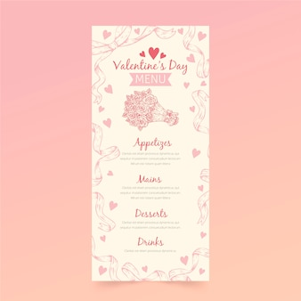 Modello di menu di san valentino vintage