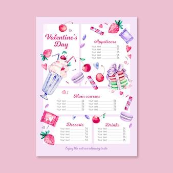 Modello di menu di san valentino