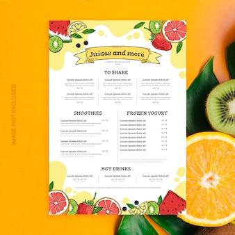 Modello di menu di succhi e frullati
