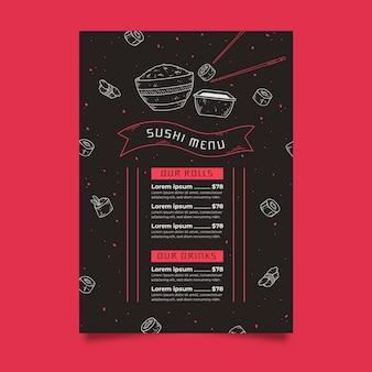 Modello di menu di sushi