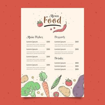 Modello di menu di verdure disegnate a mano