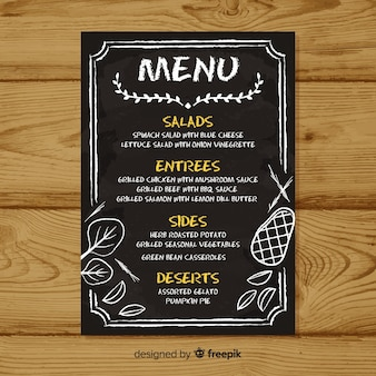 Modello di menu elegante con stile lavagna