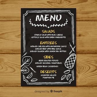 Modello di menu elegante con stile lavagna