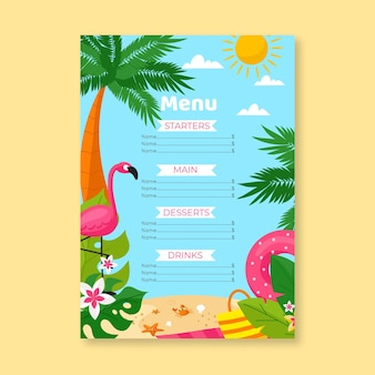 Modello di menu estivo