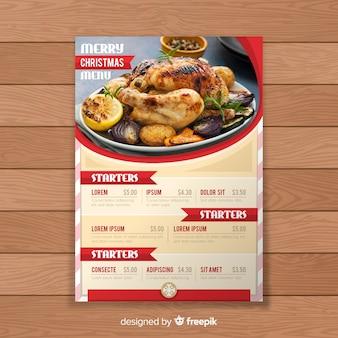 Modello di menu etichetta di natale