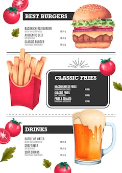Modello di menu fast food con hamburger, patatine e illustrazioni di birra