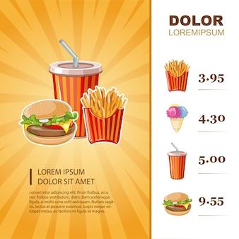 Modello di menu fast food con immagini
