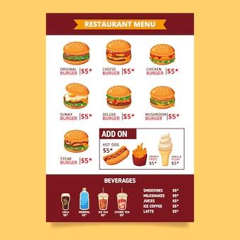 Modello di menu fast food disegnato a mano