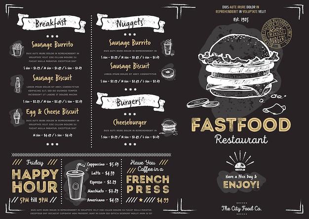 Modello di menu fast food ristorante caffetteria