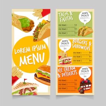 Modello di menu fast food