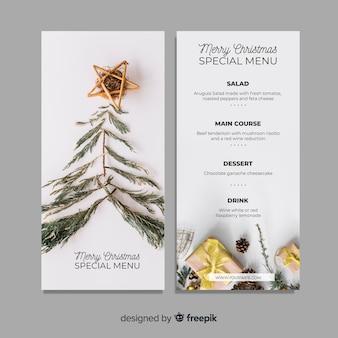 Modello di menu fotografico natalizio