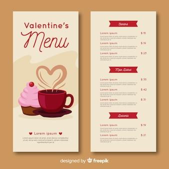 Modello di menu giorno di san valentino
