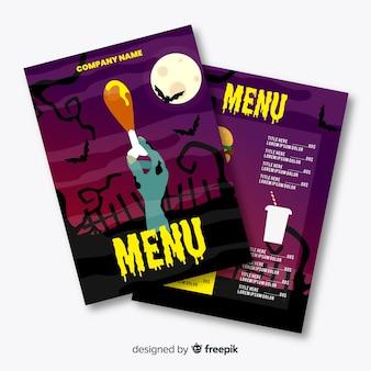 Modello di menu halloween design piatto