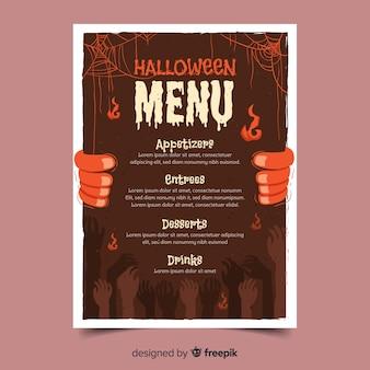 Modello di menu halloween disegnato a mano